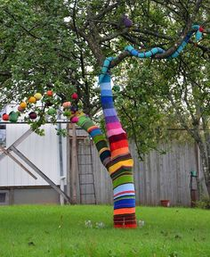 Graffiti knitting is a type of graffiti or street art of decor that employs colorful displays of knitted or crocheted designs created with yarn, fabrics and soft fibres rather than paint or chalk. Lus