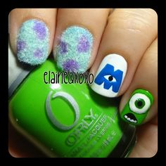 .@elaineqxoxo | Monsters Inc. Nails. I did these the other night. I love them soooo much. Req...