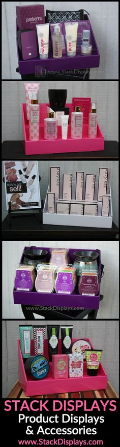 Pink, Purple & White Counter Displays. Use at Vendor events, craft shows, & more.   DISPLAY IDEAS FOR:   Scentsy  Jamberry Nails Younique  Pure Romance  Perfectly Posh Pink Zebra Home Mary Kay Avon