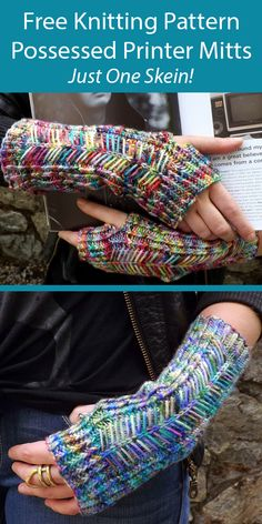 One Skein Fingerless Mitts Knitting Patterns - In the Loop Knitting Beginner Knitting Patterns, Knitting For Beginners, Free Knitting, Knitting Projects, Fingerless Gloves Knitted, Crochet Gloves, Knitted Cowls, Fingering Yarn, Knitting Accessories