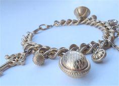 Gold Charm Bracelet Chunky Designer Signature by VillaCollezione, $32.00