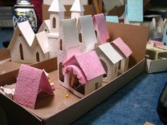 Christmas DIY: under construction p under construction putz how to Christmas Village Houses, Putz Houses, Christmas Minis, Christmas Villages, Pink Christmas, Christmas Projects, Winter Christmas, All Things Christmas, Vintage Christmas