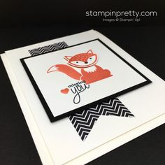 Stampin Up Foxy Friends & Fox Builder Punch Card Idea - Mary Fish Stampin Pretty