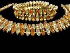 Kramer Rhinestone Jewelry Set Necklace and Bracelet Amber and Citrine by eclecticvintager. Explore more products on http://eclecticvintager.etsy.com