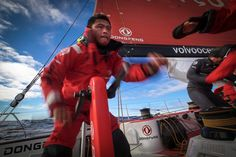 March 26, 2015. Leg 5 to Itajai onboard Dongfeng Race Team. Day 8. Lots of gybes. Black at the pedestal - Yann Riou / Dongfeng Race Team / Volvo Ocean Race