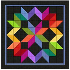 Quilts of illusion - Karen Combs fabric line 'Crystal Fusion', comes in 26 colors. Half square triangles.