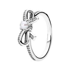 PANDORA 'Delicate Sentiments' Pearl Ring (£43) ❤ liked on Polyvore featuring jewelry, rings, pearl bow ring, pearl jewellery, pearl rings, pandora rings and pandora jewelry