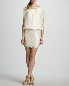 Blouson-Top Beaded-Skirt Dress  by Aidan by Aidan Mattox at Neiman Marcus. Gettin this..Luv my neiman card!