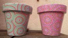 Hand painted flowerpots. Macetas pintadas a mano. Facebook: A'chs Pots. achapots@hotmail.com