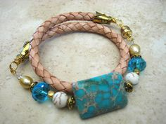 """Boho Chic Natural Wrap Turqoise Beaded Bracelet with Brass & Pearl Accents....""""FREE SHIPPING""""     by LeatherDiva, $39.00"""