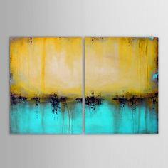 mão pintura a óleo pintado cenário abstrato lago com esticada conjunto de quadros de 2 – EUR € 73.68
