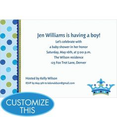 Little Prince Custom Baby Shower Invitation - Party City
