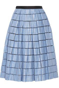 Tibi, Raffia-effect cotton-blend skirt