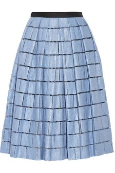 TIBI Raffia-effect cotton-blend skirt $625