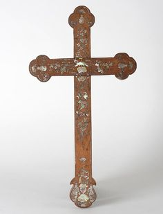 Chinese Export Christian Cross w. Mother-of-Pearl Inlays Archipelago, Asian Art, Oriental, Chinese, Christian, Pearls, Beads, Pearl