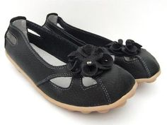 TAMMY BLACK LEATHER FLATS