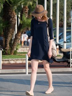 simple navy casual dress