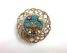 Vendome Brooch 50s Gold Turquoise Cage Pin  by GlennasJewels