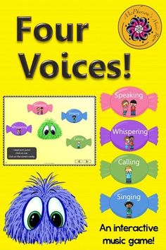 Fun elementary music interactive game! Your students will love the 4 voices (whispering, speaking, singing and calling).  Excellent Orff and Kodaly music resource! Works great on Smartboard too!