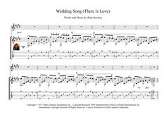 Wedding Song (There Is Love) is a song written by Noel Stookey in the fall of 1969. Here is an arrangement for classical guitar solo with tablature in pdf mp3.
