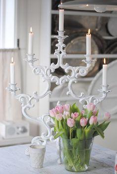 Love the white chandelier