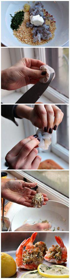 Scampi Stuffed and Roasted Shrimp by canyoustayfordinner via normalrecipe #Shrimp #Scampi #Stuffed