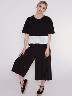 Pandora Black Cropped T-Shirt with Pleated Hem and Contrast Ribbon Trim