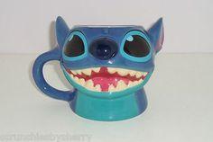 Disney Store 25th Anniversary Sculptured Stitch Blue Coffee Mug