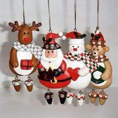 FIGURES - Christmas Tree Ornaments Handmade Xmas Decorations - Set of 4