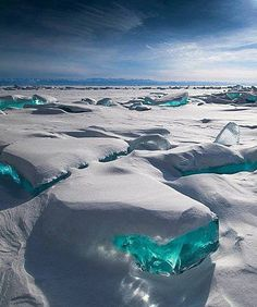 Stunning turquoise ice cubes. Lake Baikal, Russia