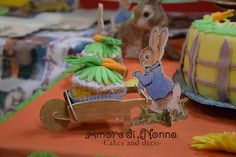 Peter Rabbit cupcakes, birthday party ideas, Easter bunny cupcakes, cupcake holders, wheelbarrow