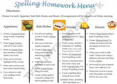 FREE Spelling Homework Menu - for differentiated instruction -- choices, choices, choices   # Pin++ for Pinterest #
