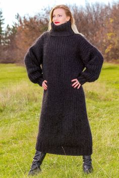 SUPERTANYA BLACK Hand Knitted Mohair Sweater SLOUCHY Fuzzy Long Dress ON SALE #SUPERTANYA #TurtleneckMock