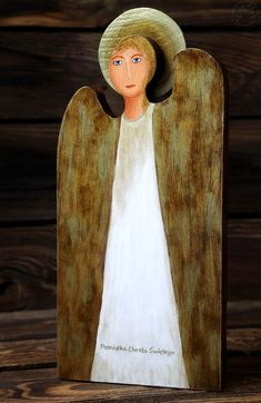 White wooden angel, a gift for baptism, gift ideas Wooden Angel, Angels, Gift Ideas, Gifts, Painting, Art, Presents, Painting Art, Paintings