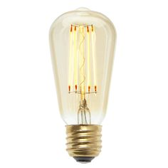 "Inspired by turn of the century industrial lighting and Thomas Edison's earliest electrical accomplishments, our Bushwick Bulb features a single straight-edged glass and brass bulb with energy-efficient LED filaments in a ""squirrel cage&r Industrial Lighting, Outdoor Lighting, Incandescent Bulbs, Edison Bulbs, White Led Lights, Amber Glass, Light Bulb, Vintage, Drawing Fashion"