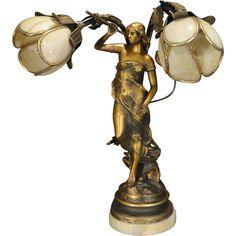 Gorgeous Art Nouveau Figural Double Shade Slag Glass Lamp from stidwillsantiques on Ruby Lane