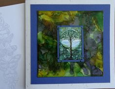 Card with Alcohol Ink. Stamp on envelope is from Crafty Individuals.