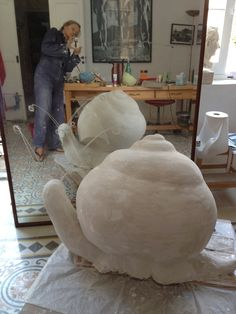 The big snail, lots of mess in my studio making the plaster snail.