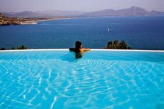 A quiet pool with a stunning view! 50 Shades Of Grey, Mediterranean Sea, Stunning View, Greek Islands, Greece, Sky, Places, Water, Bucket