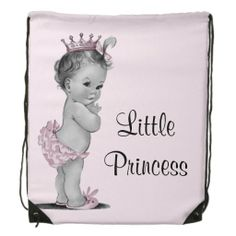 Cute vintage Little Princess baby pink diaper bag backpack.  An elegant, classy, chic, glamorous gift for a new baby girl or girls' baby shower.