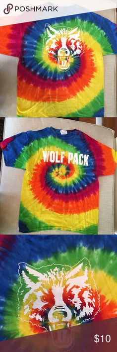 """NWOT Wolf Pack shirt 🐺 Brand new unworn Hanes Heavyweight """"Wolf Pack"""" t shirt. Size M. Bright tie dye. Awesome for a Wolves sports supporter or anyone who loves the Hangover movies! Hanes Shirts Tees - Short Sleeve"""