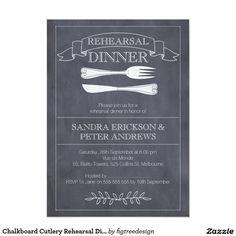 Chalkboard Cutlery Rehearsal Dinner Invitation