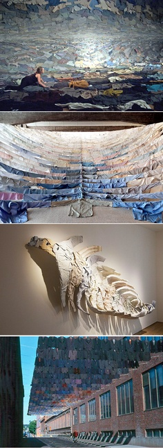 All of Finnish artist Kaarina-Kaikkonen's installations are created with suspended articles of clothing.