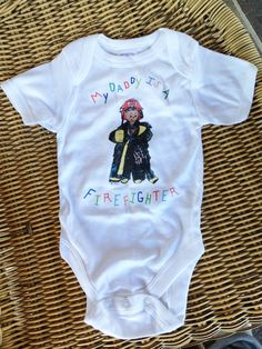 My Daddy is a Firefighter Baby Onesie Bodysuit Size 3-6 months. $5.00, via Etsy.
