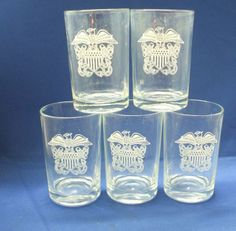 Eagle Decorated Small  Clear Glass Tumblers CCC Continental Can Co.