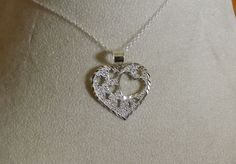 "♥~♥ Valentines Day Heart Hearts Necklace, Solid Sterling Silver, 18"" Chain, New ♥~♥"
