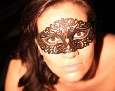 Halloween Filigree Lace Leather Mask - Many Colours - Masquerade Ball Fancydress Venetian Mask Mardi Gras