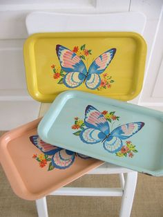 Vintage Metal Tray Butterfly Kitsch Pink Blue by vintagejane, $19.00