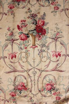 Rococo block printed floral antique French fabric c1800 linen cotton China blue