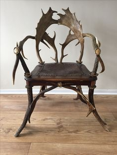 A rare Bavarian antler chair